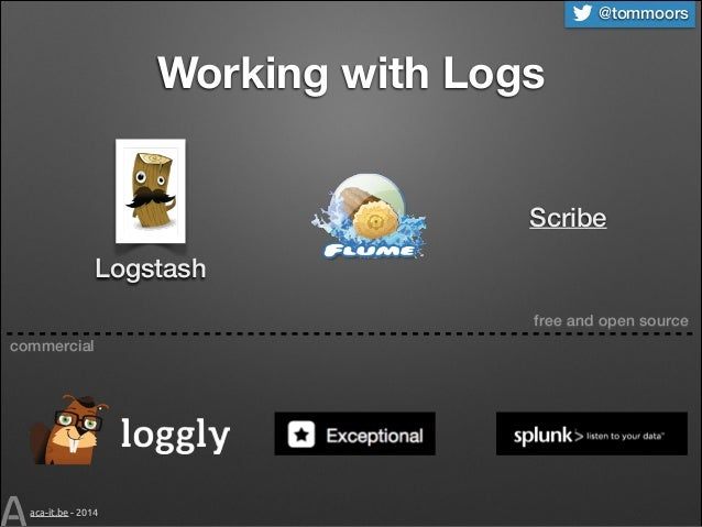 @tommoors  Working with Logs Scribe Logstash free and open source commercial  aca-it.be - 2014