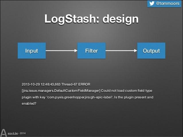 @tommoors  LogStash: design Input  Filter  Output  2013-10-29 12:48:43,663 Thread-67 ERROR [jira.issue.managers.DefaultCus...