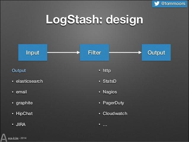 @tommoors  LogStash: design Input Output  Filter  Output  •  http  •  elasticsearch  •  StatsD  •  email  •  Nagios  •  gr...