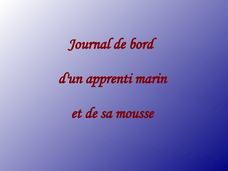 Journal de bord  d'un apprenti marin    et de sa mousse