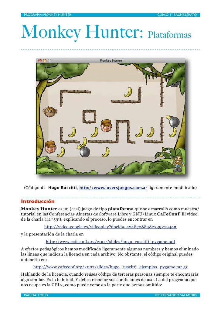 PROGRAMA: MONKEY HUNTER                                             CURSO: 1º BACHILLERATO     Monkey Hunter: Plataformas ...