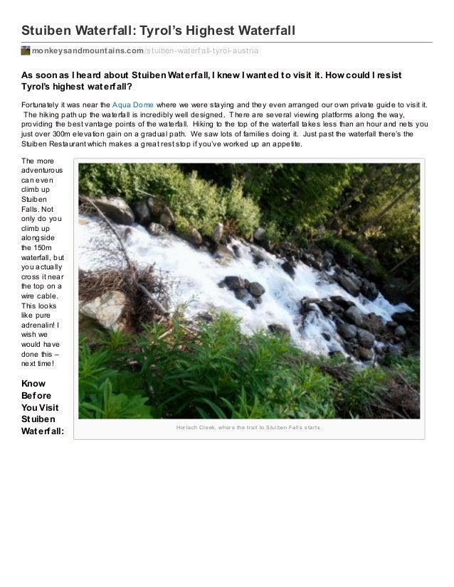 Stuiben Waterfall: Tyrol's Highest Waterfall monkeysandmountains.com /stuiben-waterf all-tyrol-austria  As soon as I heard...