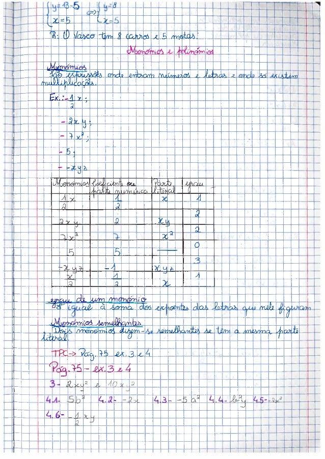 O meu caderno diário de matemática do 8º ano - 3º P - monómios e polinómios