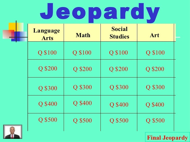 Jeopardy Language  Arts Math Social Studies Art Q $100 Q $200 Q $300 Q $400 Q $500 Q $100 Q $100 Q $100 Q $200 Q $200 Q $2...