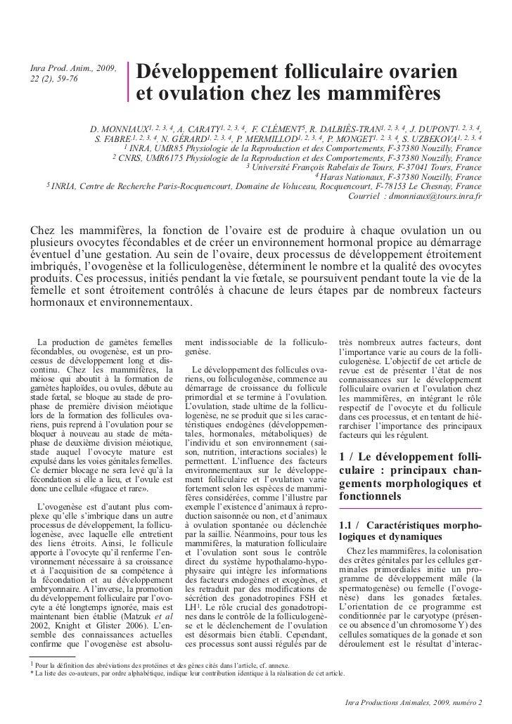 Inra Prod. Anim., 2009,22 (2), 59-76                           Développement folliculaire ovarien                         ...