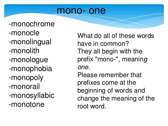 Mono- prefix lesson