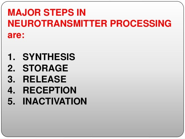 MAJOR STEPS IN NEUROTRANSMITTER PROCESSING are: 1. SYNTHESIS 2. STORAGE 3. RELEASE 4. RECEPTION 5. INACTIVATION