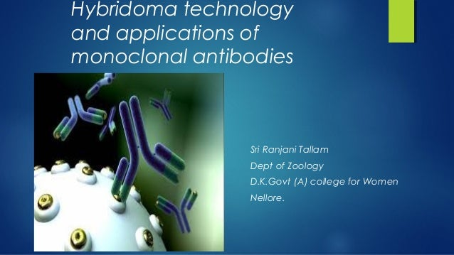 Hybridoma technology and applications of monoclonal antibodies Sri Ranjani Tallam Dept of Zoology D.K.Govt (A) college for...