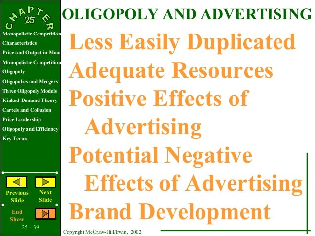 the advertisement impact oligopoly In tight oligopolies, firms may boost the intensity of advertising well beyond the   one impact of network effects is that industry standards become important.