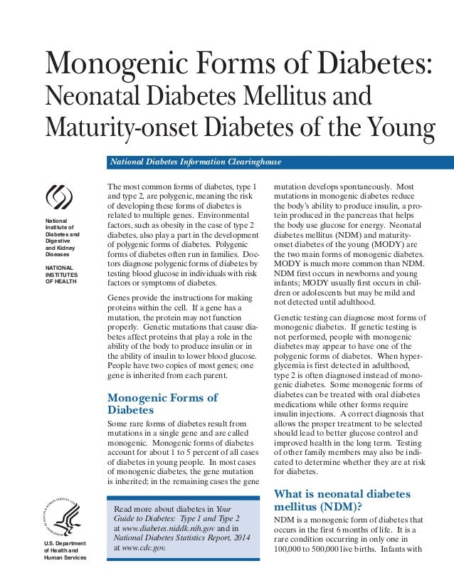 Monogenic Forms of Diabetes: Neonatal Diabetes Mellitus and Maturity-onset Diabetes of the Young National Diabetes Informa...
