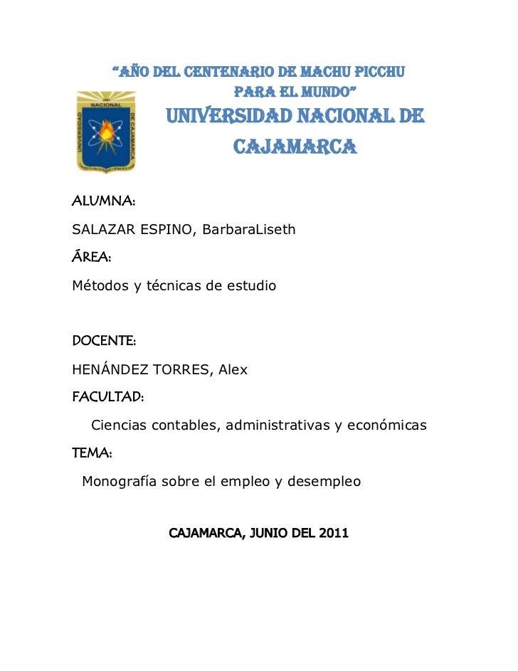 """5588047180500""""Año del Centenario de Machu Picchu<br />para el Mundo""""<br />UNIVERSIDAD NACIONAL DE CAJAMARCA<br />ALUMNA:<b..."""