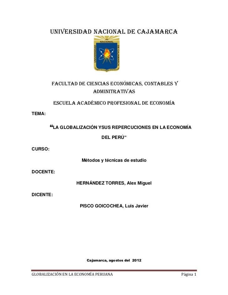UNIVERSIDAD NACIONAL DE CAJAMARCA         FACULTAD DE CIENCIAS ECONÓMICAS, CONTABLES Y                           ADMINITRA...