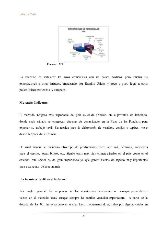 Industria Textil 29 Fuente: AITE La intención es fortalecer los lazos comerciales con los países Andinos, pero ampliar las...
