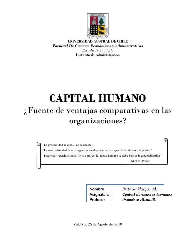 UNIVERSIDAD AUSTRAL DE CHILE           Facultad De Ciencias Económicas y Administrativas                           Escuela...