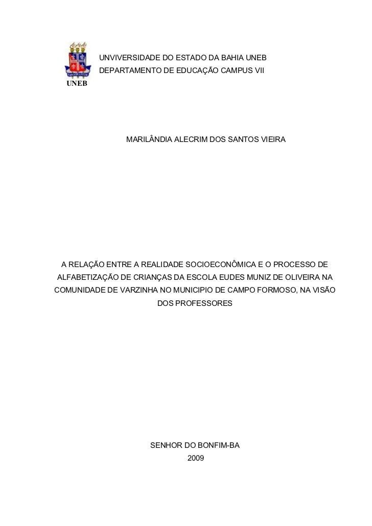 UNVIVERSIDADE DO ESTADO DA BAHIA UNEB         DEPARTAMENTO DE EDUCAÇÃO CAMPUS VII  UNEB               MARILÂNDIA ALECRIM D...