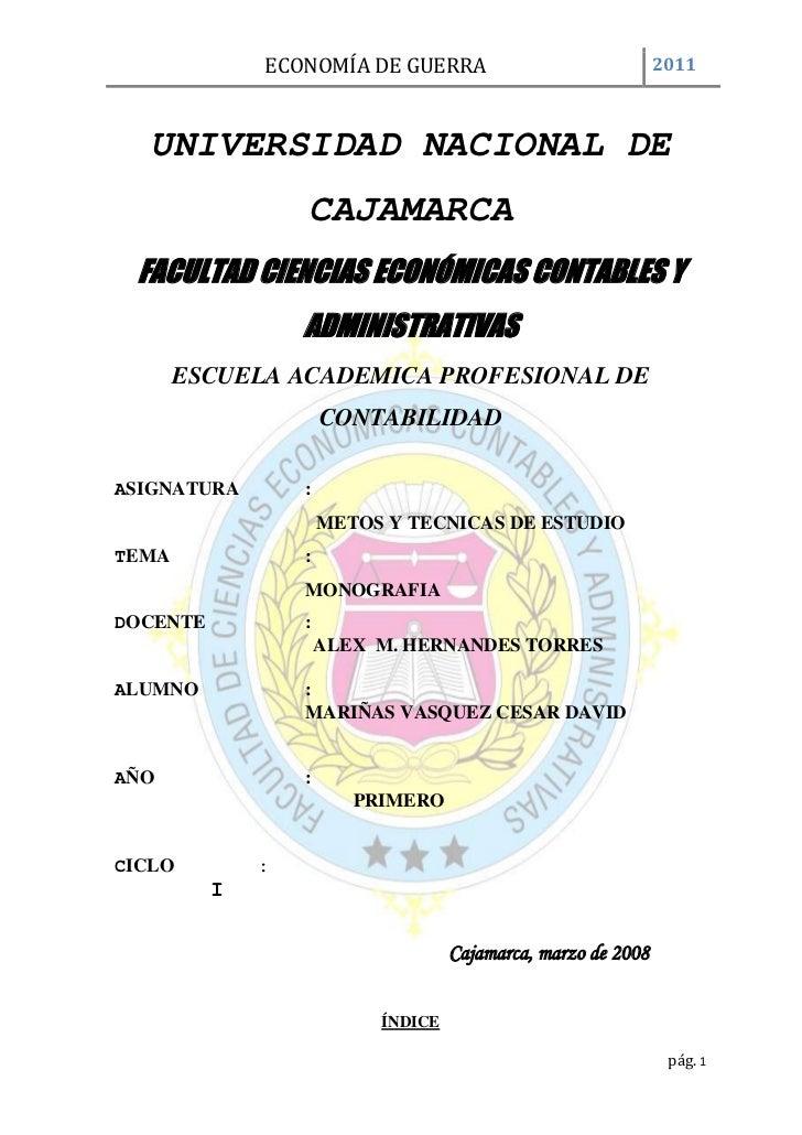 UNIVERSIDAD NACIONAL DE CAJAMARCA<br />30924572326500FACULTAD CIENCIAS ECONÓMICAS CONTABLES Y ADMINISTRATIVAS<br />ESCUEL...