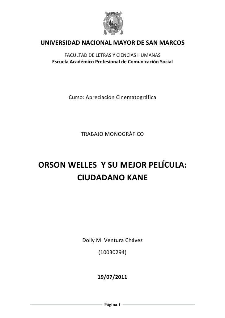 UNIVERSIDAD NACIONAL MAYOR DE SAN MARCOS        FACULTAD DE LETRAS Y CIENCIAS HUMANAS   Escuela Académico Profesional de C...