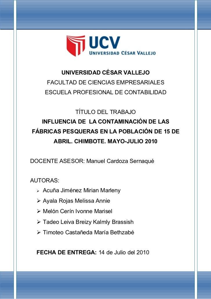 UNIVERSIDAD CÉSAR VALLEJO       FACULTAD DE CIENCIAS EMPRESARIALES      ESCUELA PROFESIONAL DE CONTABILIDAD               ...