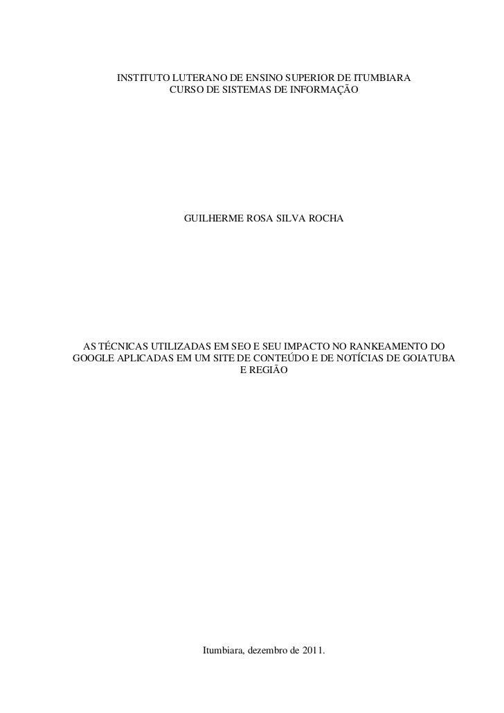 INSTITUTO LUTERANO DE ENSINO SUPERIOR DE ITUMBIARA                CURSO DE SISTEMAS DE INFORMAÇÃO                  GUILHER...