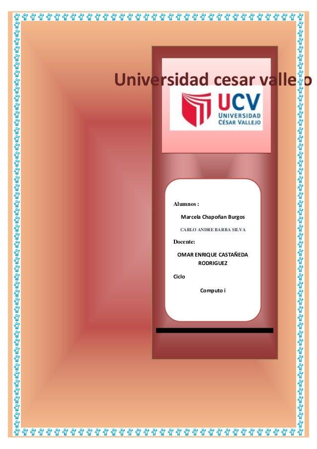 Universidad cesar vallejo  Alumnos : Marcela Chapoñan Burgos CARLO ANDRE BARBA SILVA  Docente: OMAR ENRIQUE CASTAÑEDA RODR...