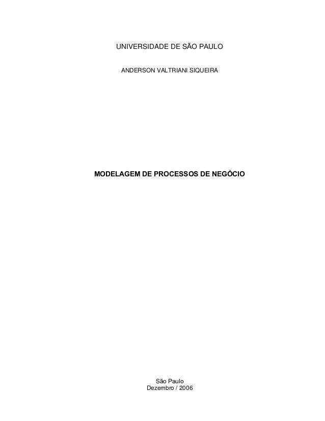 UNIVERSIDADE DE SÃO PAULOANDERSON VALTRIANI SIQUEIRAMODELAGEM DE PROCESSOS DE NEGÓCIOSão PauloDezembro / 2006