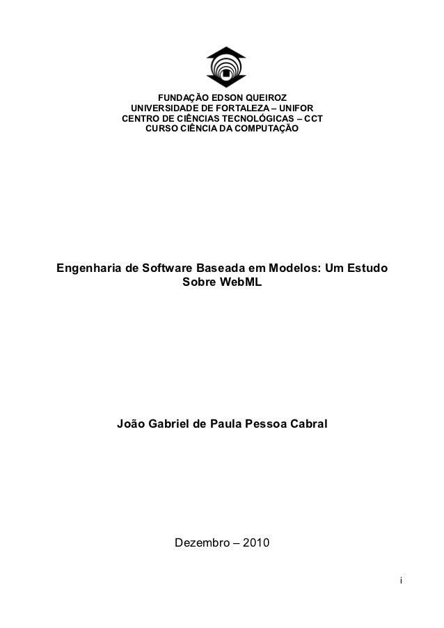 FUNDAÇÃO EDSON QUEIROZ           UNIVERSIDADE DE FORTALEZA – UNIFOR          CENTRO DE CIÊNCIAS TECNOLÓGICAS – CCT        ...