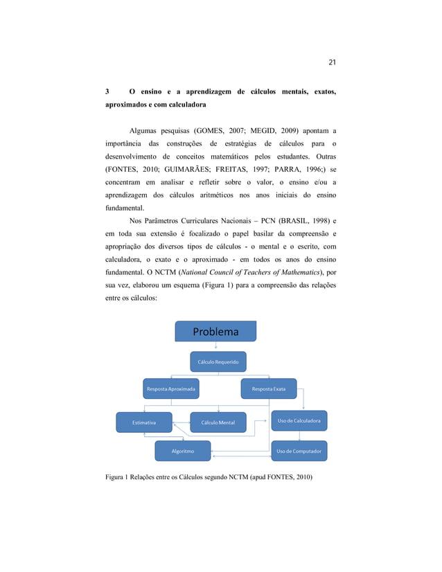 21  3 O ensino e a aprendizagem de cálculos mentais, exatos,  aproximados e com calculadora  Algumas pesquisas (GOMES, 200...