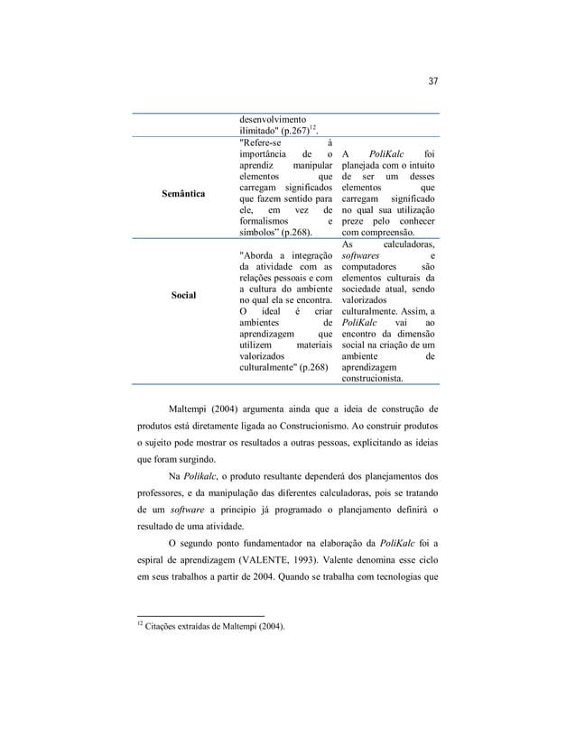 """37  desenvolvimento  ilimitado"""" (p.267)12.  Semântica  """"Refere-se à  importância de o  aprendiz manipular  elementos que  ..."""