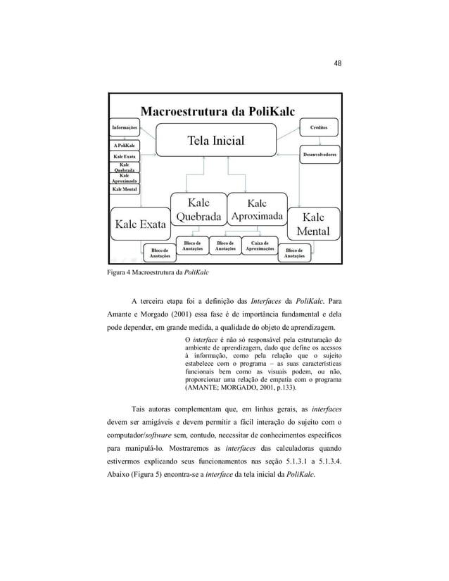 48  Figura 4 Macroestrutura da PoliKalc  A terceira etapa foi a definição das Interfaces da PoliKalc. Para  Amante e Morga...