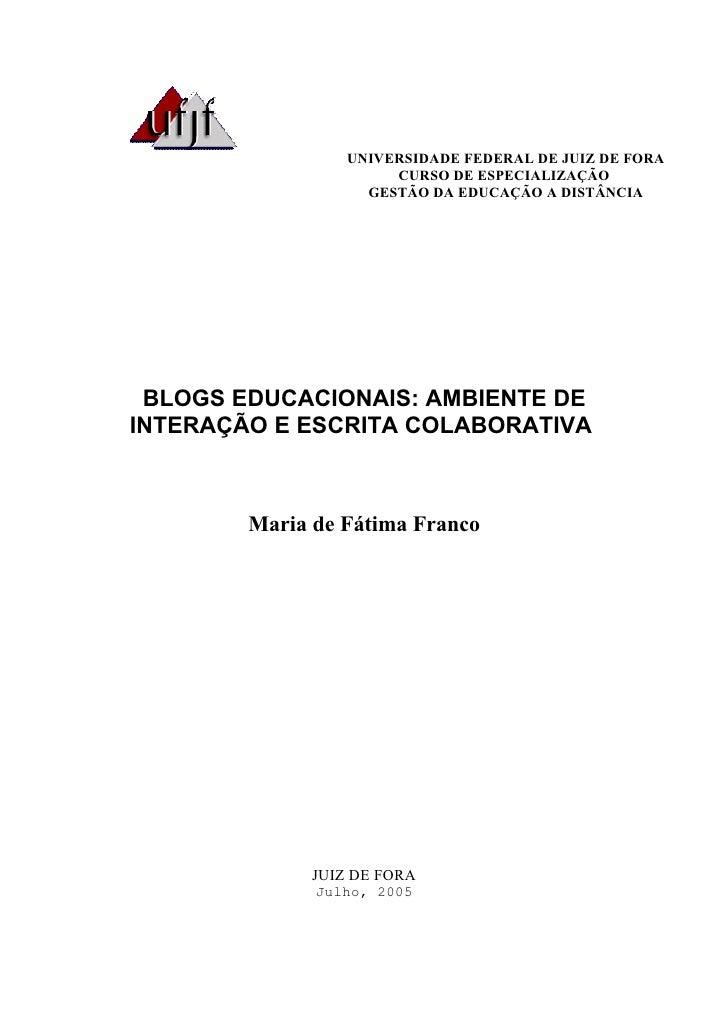 UNIVERSIDADE FEDERAL DE JUIZ DE FORA                       CURSO DE ESPECIALIZAÇÃO                    GESTÃO DA EDUCAÇÃO A...