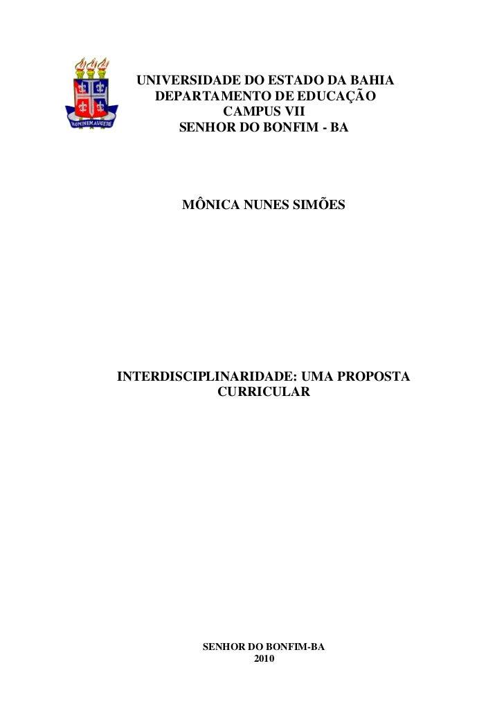 UNIVERSIDADE DO ESTADO DA BAHIA    DEPARTAMENTO DE EDUCAÇÃO            CAMPUS VII       SENHOR DO BONFIM - BA       MÔNICA...