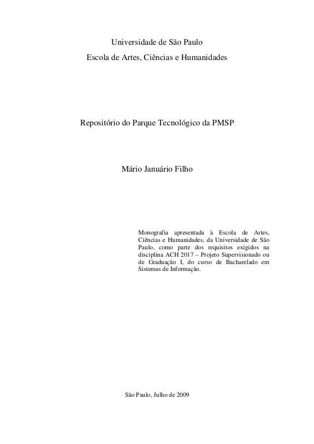 Universidade de São Paulo Escola de Artes, Ciências e HumanidadesRepositório do Parque Tecnológico da PMSP          Mário ...