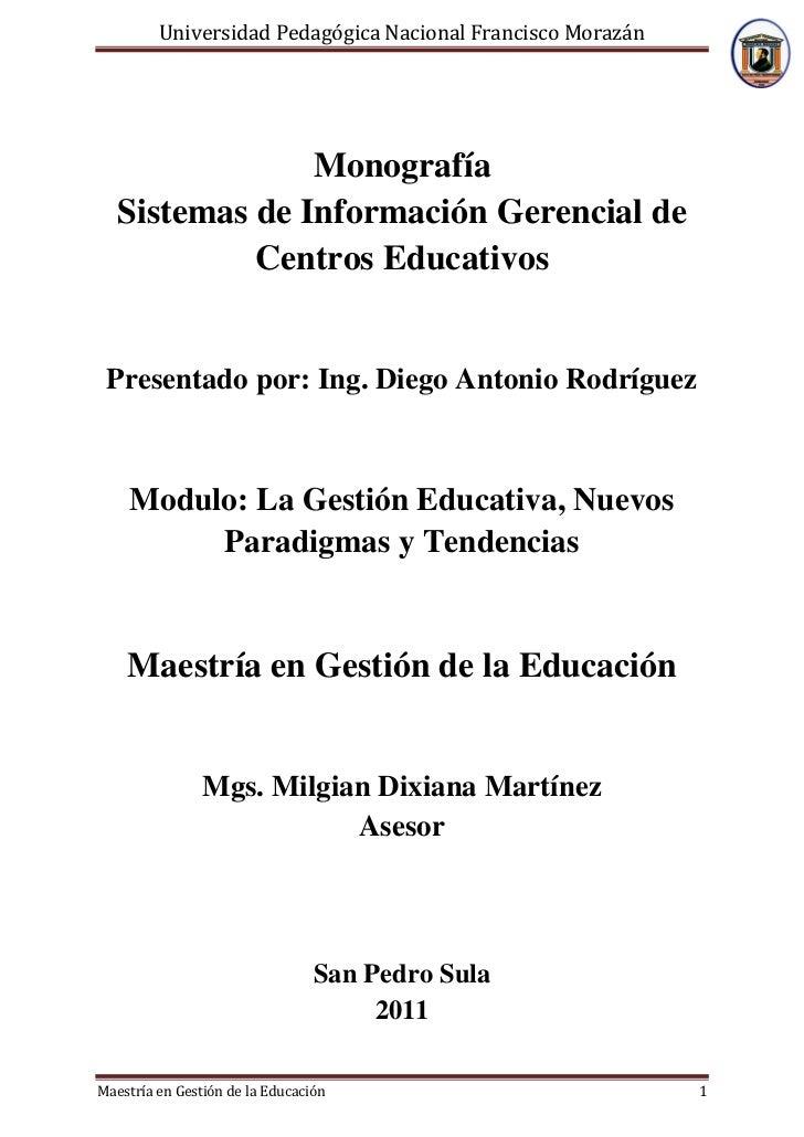 Universidad Pedagógica Nacional Francisco Morazán                Monografía   Sistemas de Información Gerencial de        ...