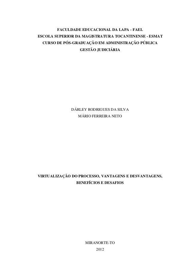 FACULDADE EDUCACIONAL DA LAPA - FAELESCOLA SUPERIOR DA MAGISTRATURA TOCANTINENSE - ESMAT  CURSO DE PÓS-GRADUAÇÃO EM ADMINI...