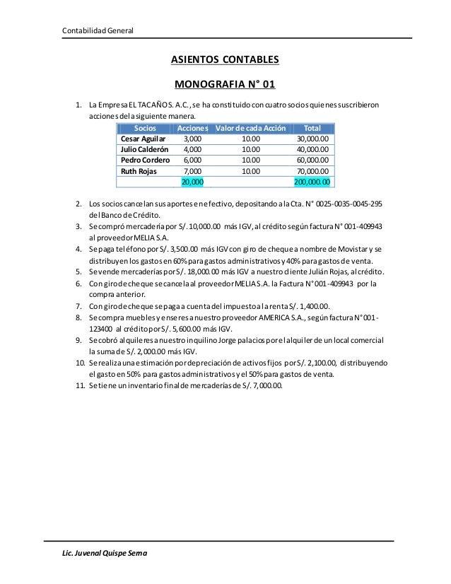 ContabilidadGeneral Lic. Juvenal Quispe Serna ASIENTOS CONTABLES MONOGRAFIA N° 01 1. La EmpresaEL TACAÑOS.A.C.,se ha const...