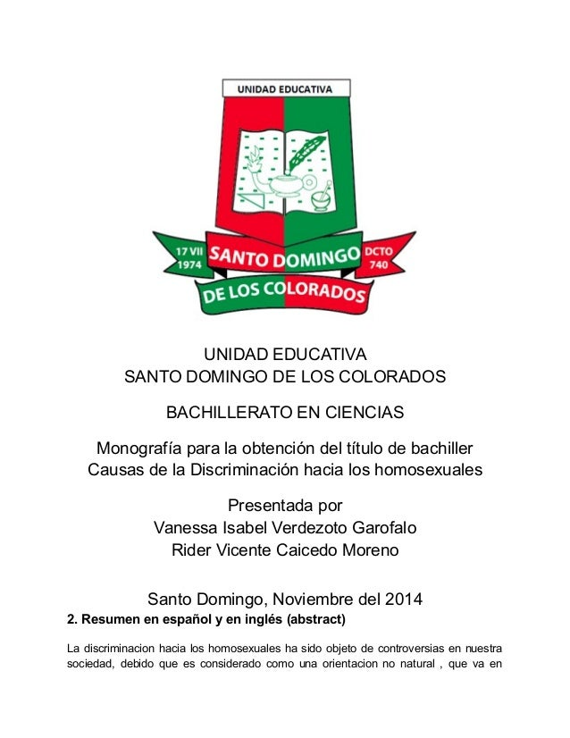 UNIDAD EDUCATIVA SANTO DOMINGO DE LOS COLORADOS BACHILLERATO EN CIENCIAS Monografía para la obtención del título de bachil...