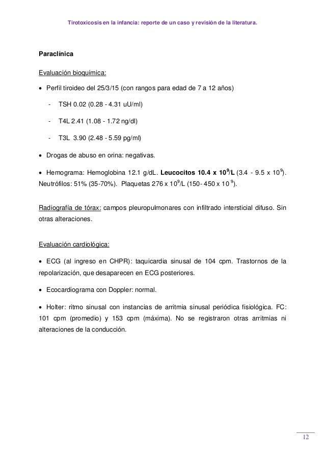 Tirotoxicosis en la infancia: reporte de un caso y revisión de la literatura. 12 Paraclínica Evaluación bioquímica:  Perf...
