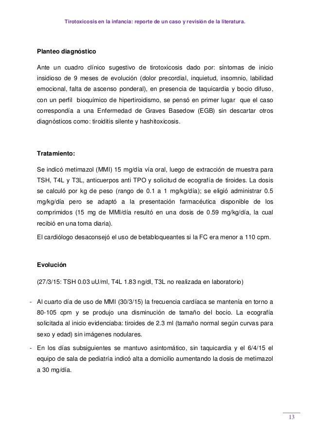 Tirotoxicosis en la infancia: reporte de un caso y revisión de la literatura. 13 Planteo diagnóstico Ante un cuadro clínic...