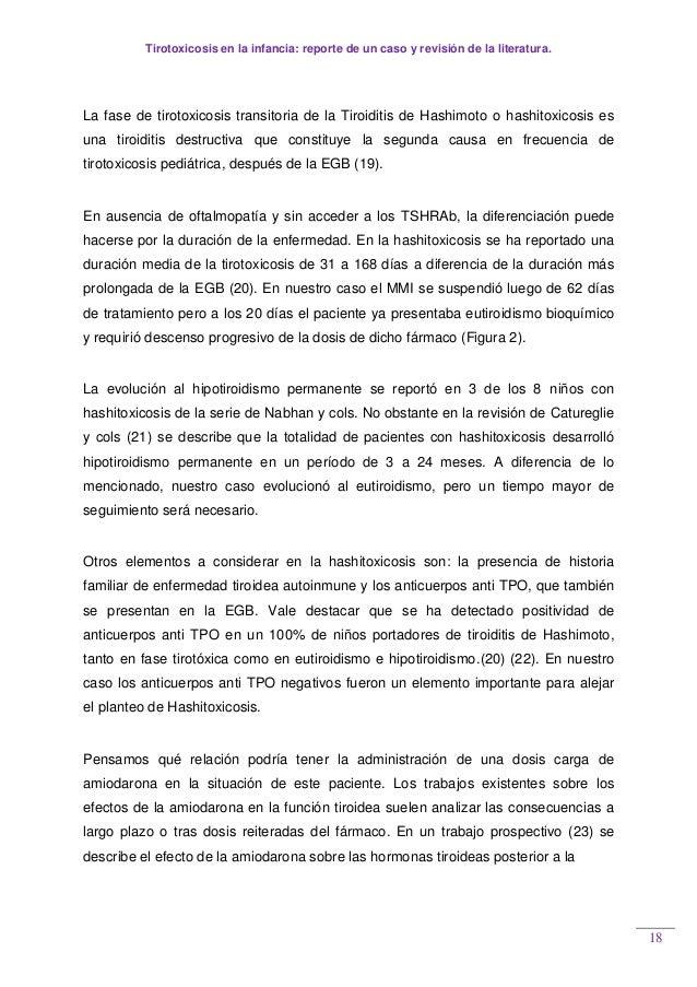 Tirotoxicosis en la infancia: reporte de un caso y revisión de la literatura. 18 La fase de tirotoxicosis transitoria de l...