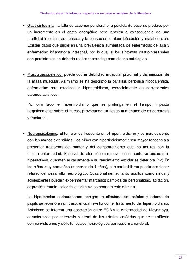 Tirotoxicosis en la infancia: reporte de un caso y revisión de la literatura. 27  Gastrointestinal: la falta de ascenso p...