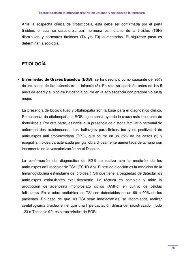 Tirotoxicosis en la infancia: reporte de un caso y revisión de la literatura. 28 Ante la sospecha clínica de tirotoxicosis...