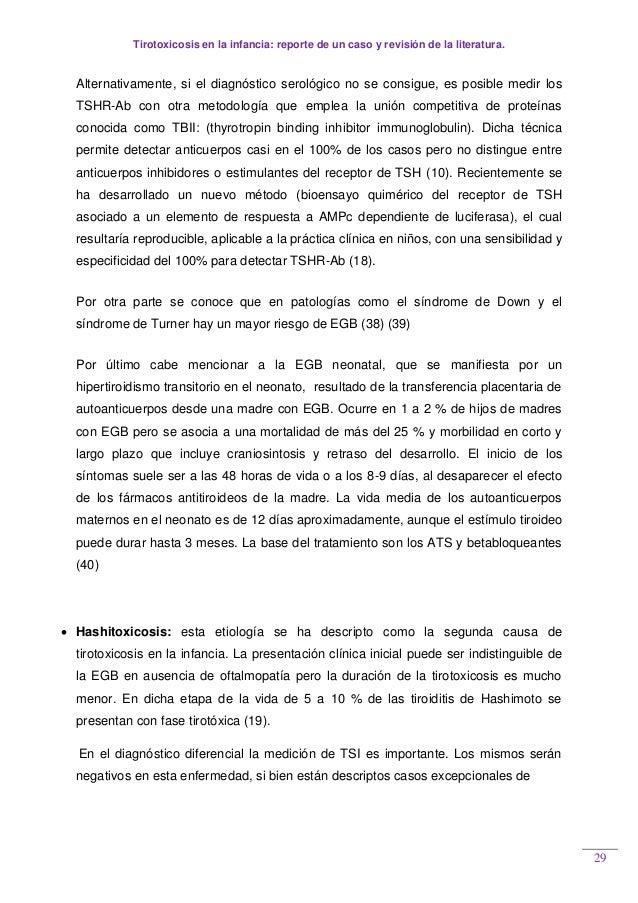 Tirotoxicosis en la infancia: reporte de un caso y revisión de la literatura. 29 Alternativamente, si el diagnóstico serol...