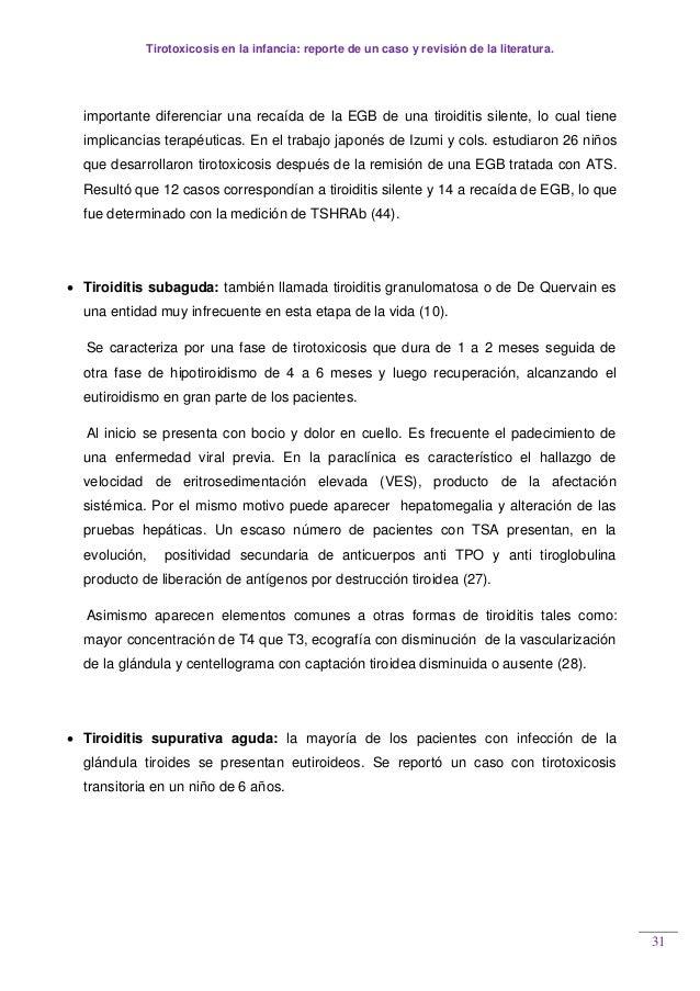Tirotoxicosis en la infancia: reporte de un caso y revisión de la literatura. 31 importante diferenciar una recaída de la ...