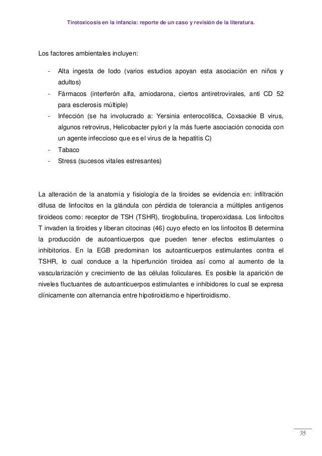 Tirotoxicosis en la infancia: reporte de un caso y revisión de la literatura. 35 Los factores ambientales incluyen: - Alta...