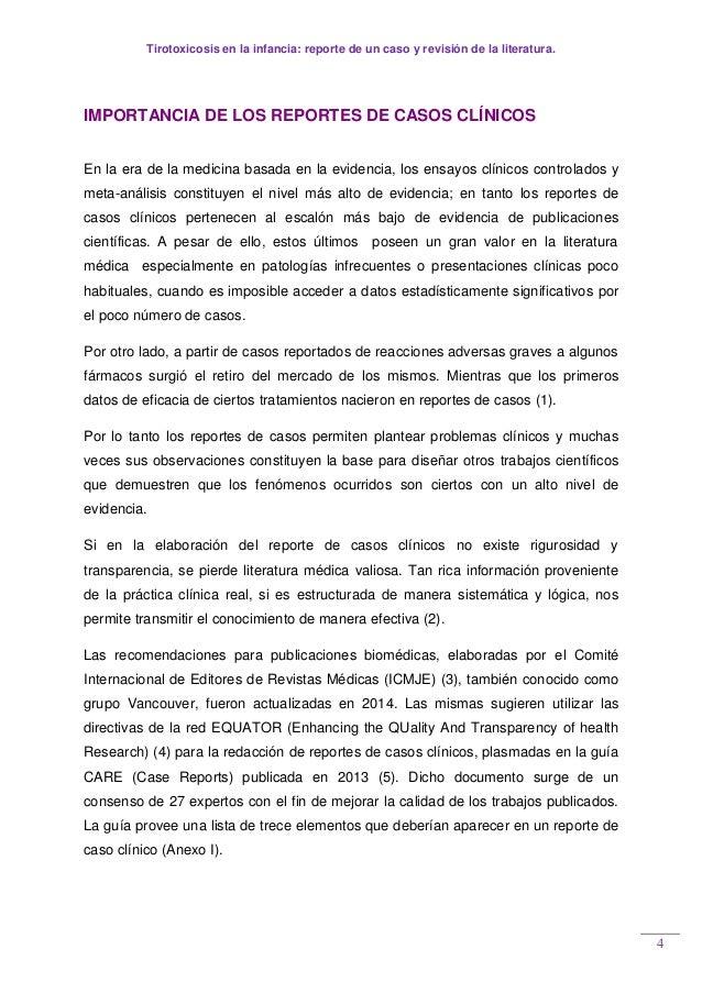 Tirotoxicosis en la infancia: reporte de un caso y revisión de la literatura. 4 IMPORTANCIA DE LOS REPORTES DE CASOS CLÍNI...