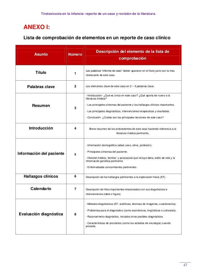 Tirotoxicosis en la infancia: reporte de un caso y revisión de la literatura. 47 ANEXO I: Lista de comprobación de element...