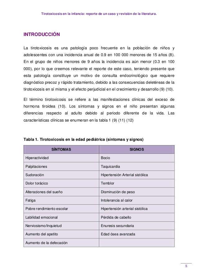 Tirotoxicosis en la infancia: reporte de un caso y revisión de la literatura. 8 INTRODUCCIÓN La tirotoxicosis es una patol...