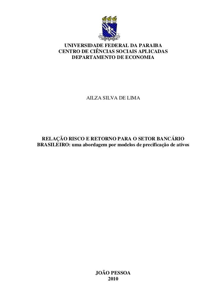 UNIVERSIDADE FEDERAL DA PARAIBA        CENTRO DE CIÊNCIAS SOCIAIS APLICADAS            DEPARTAMENTO DE ECONOMIA           ...