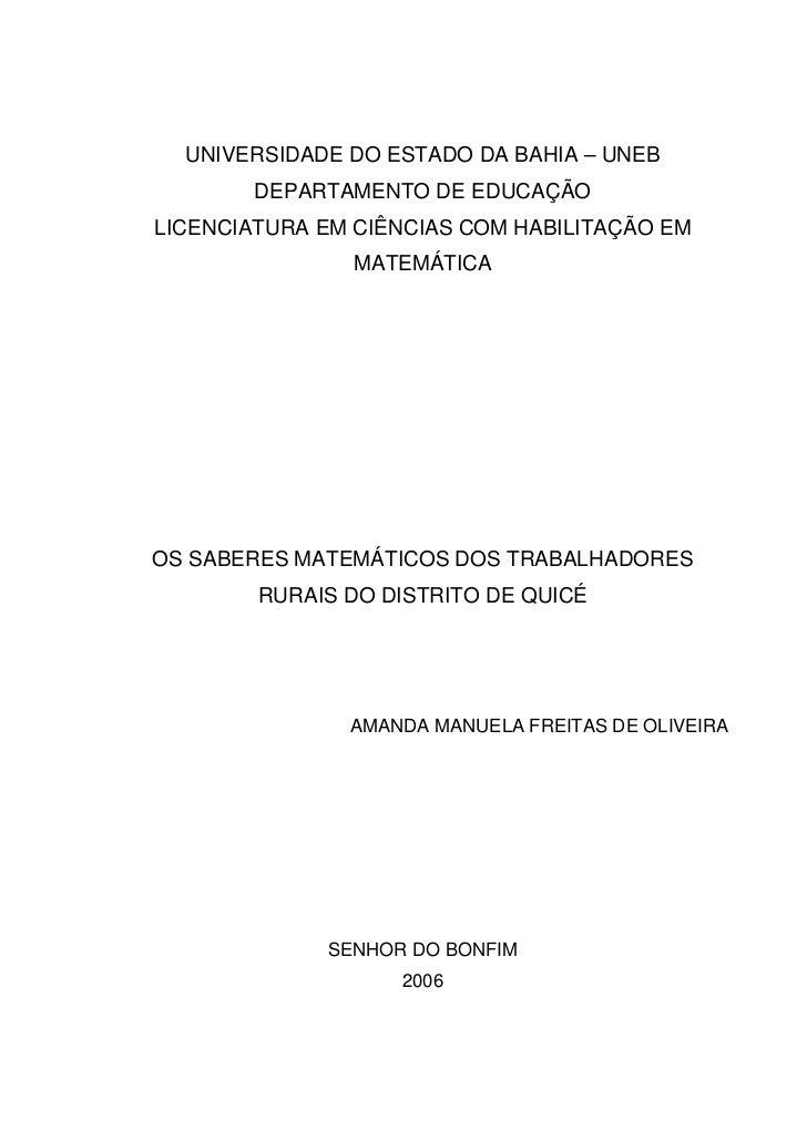 UNIVERSIDADE DO ESTADO DA BAHIA – UNEB       DEPARTAMENTO DE EDUCAÇÃOLICENCIATURA EM CIÊNCIAS COM HABILITAÇÃO EM          ...
