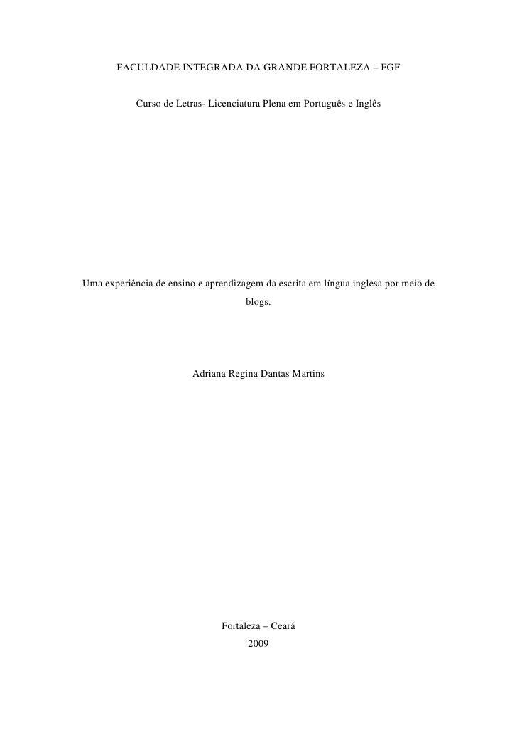 FACULDADE INTEGRADA DA GRANDE FORTALEZA – FGF               Curso de Letras- Licenciatura Plena em Português e Inglês     ...